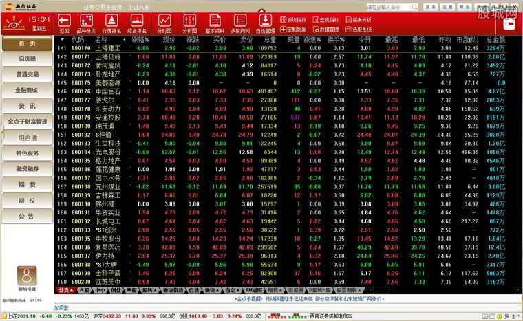 西南证券金点子财富管理终端软件版面