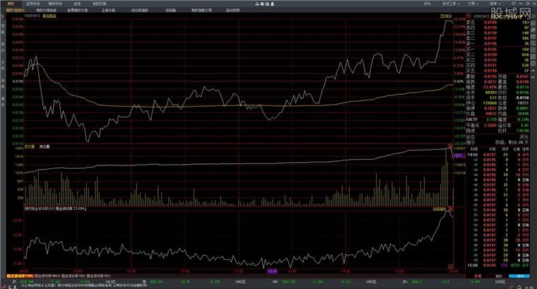 山西证券股票期权系统行情分析界面