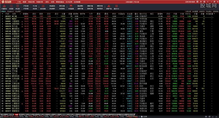 东方证券通达信金融终端行情界面